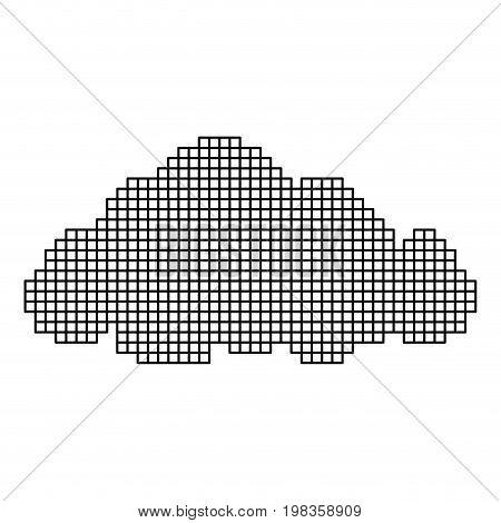 monochrome pixelate silhouette cumulus cloud vector illustration
