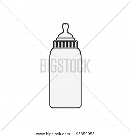 sketch silhouette of bottle baby with pacifier vector illustration