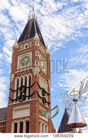 Clock tower of the Town Hall with Christmas decoration - Perth WA Australia