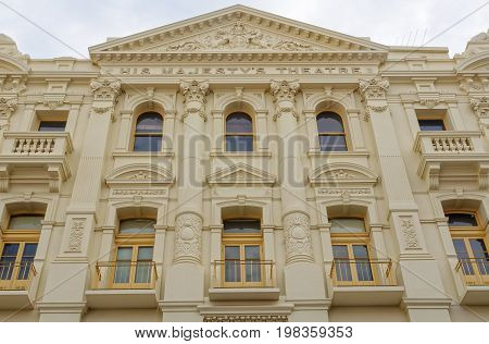Facade of His Majesty's Theatre built in Edwardian Baroque style - Perth, WA, Australia, 8 January 2013