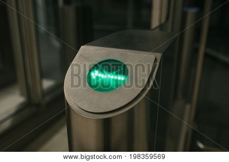 Turnstile for checking tickets for passage inside. Control, safety, verification