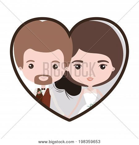colorful heart shape portrait with caricature newly married couple in wedding suits inside vector illustration