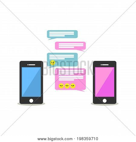 Chatting. Online chatting on mobile phone. Texting. Messaging. Communication concept.
