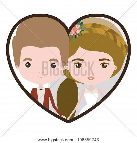 colorful heart shape portrait with caricature newly married couple groom with formal wear and bride with ponytail side long hairstyle vector illustration