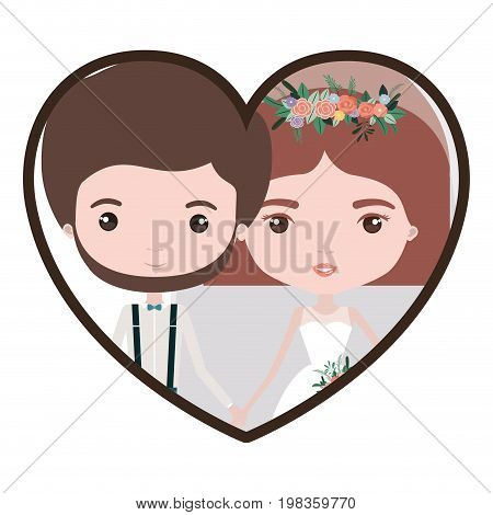 colorful heart shape portrait with caricature newly married couple groom with formal wear and bride with straight short hairstyle vector illustration