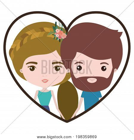 colorful heart shape portrait with caricature couple of him with short brown hair and beard and her with ponytail blond hairstyle and floral crown accesory vector illustration