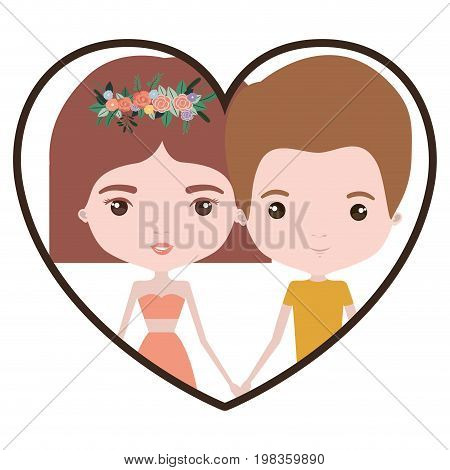 colorful heart shape portrait with caricature couple of him with short light brown hair and her with dress and short hairstyle and floral crown accesory vector illustration