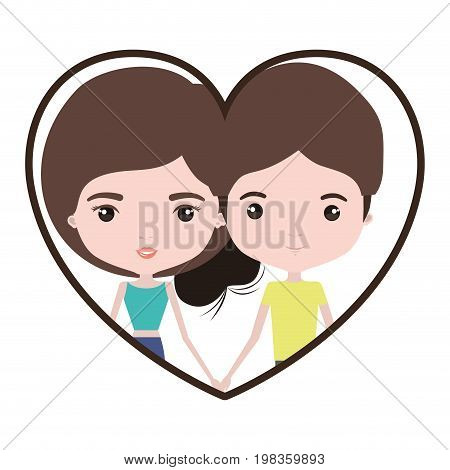 colorful heart shape portrait with caricature couple and both with brown hair and her with collected hair vector illustration