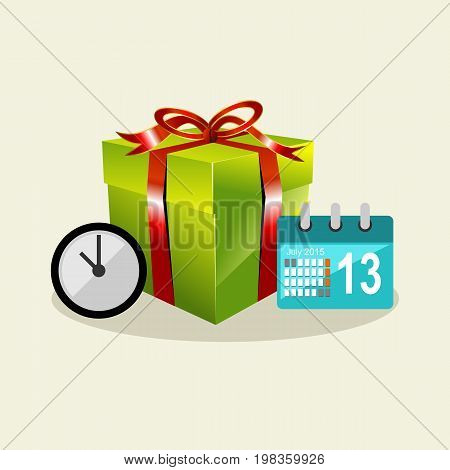 Waiting time to give a surprise. Gift box. Celebrating birthday.