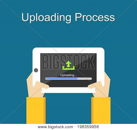 Uploading process on screen of tablet concept illustration. Uploading bar status.