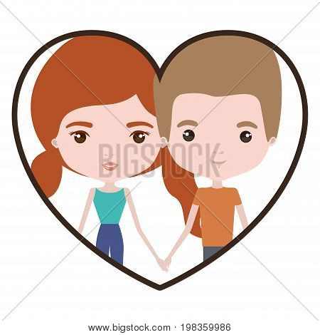 colorful heart shape portrait with caricature couple and both with pants and her with red hair with pigtails vector illustration