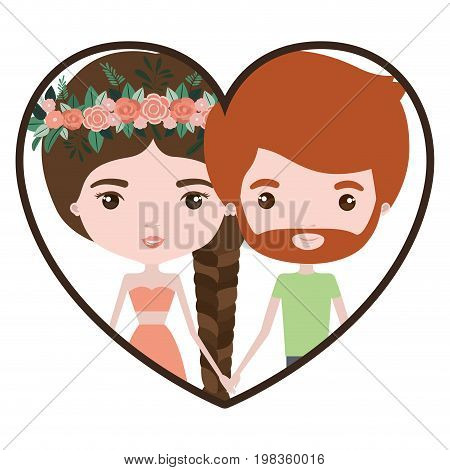 colorful heart shape portrait with caricature couple of her in dress with brown braided hair with floral crown and him with red hair and beard vector illustration