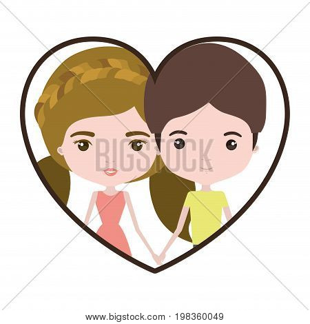 colorful heart shape portrait with caricature couple and her with dress and blond pigtails hair and him with brown hair vector illustration