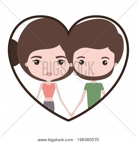 colorful heart shape portrait with caricature couple and both with brown hair and pants and her with bun hair and him with beard vector illustration