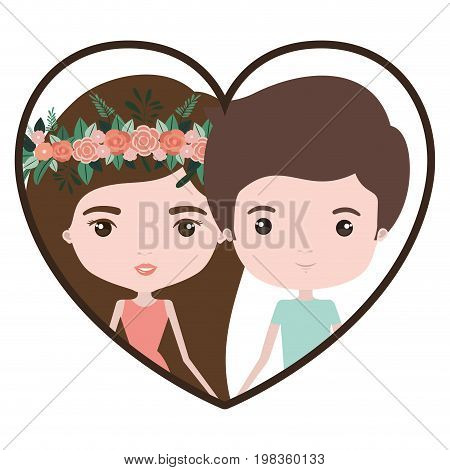 colorful heart shape portrait with caricature couple and both with brown hair and her in dress with long straight hair with floral crown and him in casual clothes vector illustration