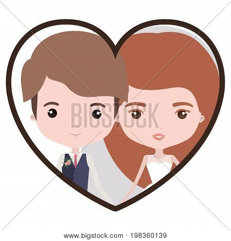 colorful heart shape portrait with caricature newly married couple young groom with formal wear and bride with long hairstyle vector illustration