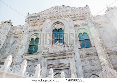 The outer side of the Sehzade Camii mosque. A famous Muslim mosque in the Fatih district in the European part of Istanbul. Turkey. A place for prayer. Architecture.