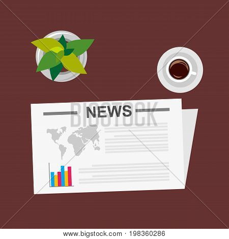 Reading newspaper with drink coffee illustration concept. Leisure activity