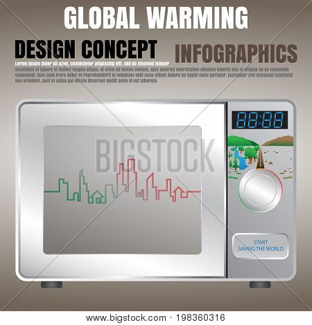Global warming concept presented by microwave oven, info-graphics, EPS 10 vector illustration