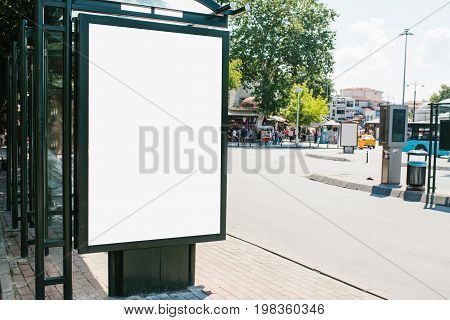 An empty billboard for outdoor advertising in Istanbul in the Fatih district, Turkey. Street advertising. Lifestyle