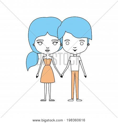 color sections silhouette caricature thin couple in clothes of young man and woman with side ponytail hairstyle holding hands vector illustration