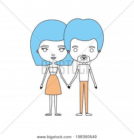 color sections silhouette caricature thin couple in clothes of bearded man and woman in skirt and top with straight medium hairstyle holding hands vector illustration