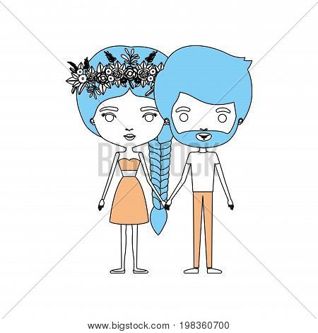 color sections silhouette caricature thin couple of bearded man and woman in skirt and top braid hairstyle with flower crown and holding hands vector illustration