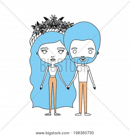 color sections silhouette caricature thin couple of bearded man and woman wavy long hairstyle with flower crown and holding hands vector illustration