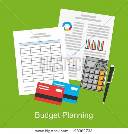 Flat illustration of budget planning , market analysis , financial accounting , spreadsheet. Business tools