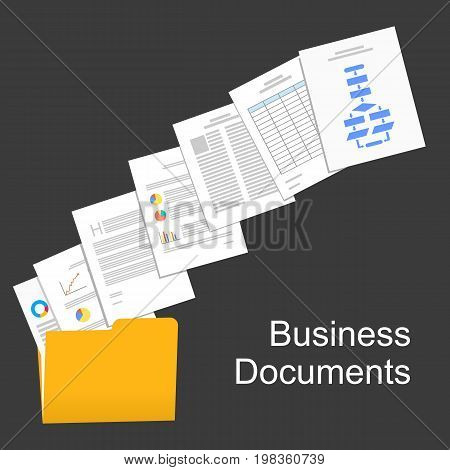 Flat design illustration for business documents , business report , paperwork