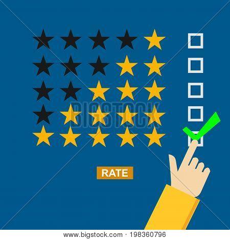 Rating illustration. Flat design. Rating system. Giving feedback concept.