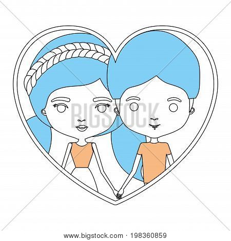 color sections silhouette heart shape portrait with caricature couple and her with dress and double pigtails hair and him with moder hairstyle vector illustration