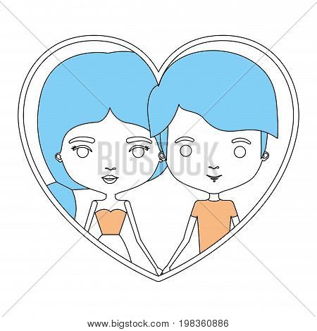 color sections silhouette heart shape portrait with caricature couple and him with short haircut and her with dress and side ponytail hairstyle vector illustration