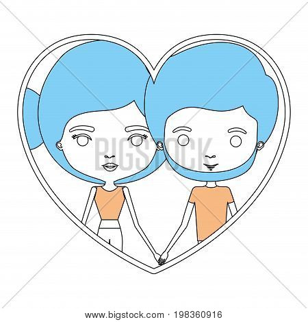 color sections silhouette heart shape portrait with caricature couple and her with bun hair and him with beard vector illustration