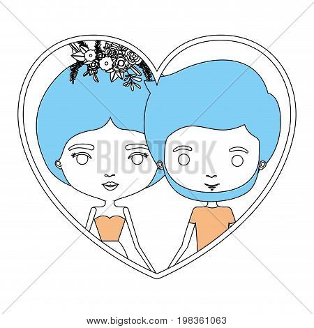 color sections silhouette heart shape portrait with caricature couple and her in dress with collected hair and floral crown and him bearded vector illustration