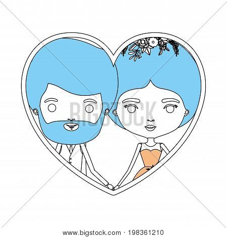 color sections silhouette heart shape portrait with caricature newly married couple bearded groom with formal wear and bride with bun hairstyle vector illustration