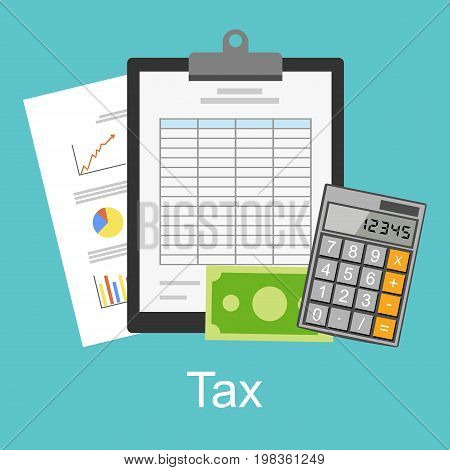 Tax or spreadsheet concept illustration. Business report. Business supplies