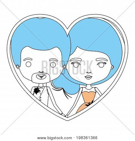 color sections silhouette heart shape portrait with caricature newly married couple in wedding suits inside vector illustration