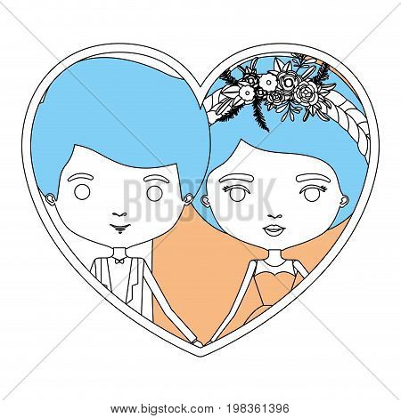 color sections silhouette heart shape portrait with caricature newly married couple groom with formal wear and bride with collected hairstyle vector illustration