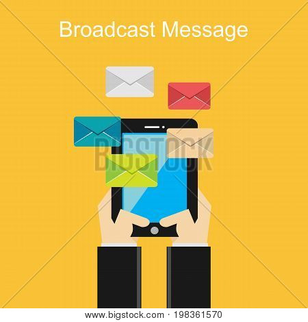 Broadcast message. Email. Texting. Sending or receiving messages concept.