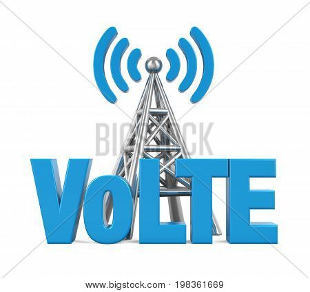 Voice over LTE Sign with Metal Antenna isolated on white background. 3D render