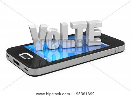 Voice over LTE Sign on Mobile Phone isolated on white background. 3D render