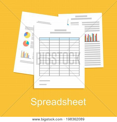 Spreadsheet concept illustration. Business report. Business supplies.
