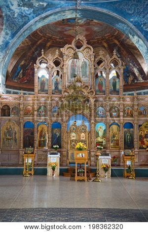 MYSHKIN, RUSSIA - JULY 13, 2016: Altar of the Assumption Cathedral