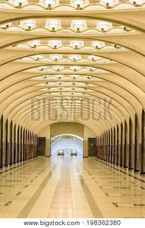 Moscow, Russia – July 09, 2017: Interior Of Mayakovskaya Metro Station In Moscow, Russia. Mayakovska
