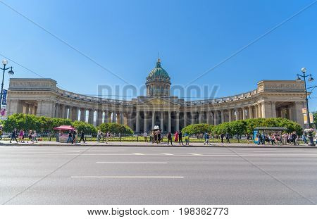 Saint Petersburg Russia - July 10 2017: Kazan Cathedral (Cathedral of Our Lady of Kazan). A Russian Orthodox Church in Saint Petersburg Russia