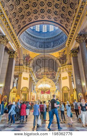 Interior Of Kazan Cathedral (cathedral Of Our Lady Of Kazan) In Saint Petersburg, Russia