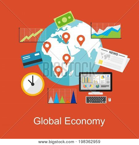 Flat design concepts for global economy, world economy, marketing analytic. Analytic concept