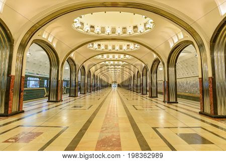 Moscow, Russia – July 09, 2017: Interior Of Mayakovskaya Metro Station In Moscow, Russia. Mayakovska