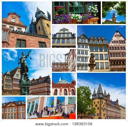 The collage from views of old town with the Justitia statue in Frankfurt, Germany